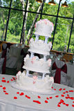 Wedding Cake On Banquet Room stock images