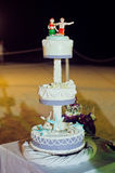 Wedding cake on the beach. Wedding in the tropics concept Stock Photo