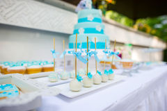 Wedding Cake. Beautiful wedding cake closeup color table Stock Images