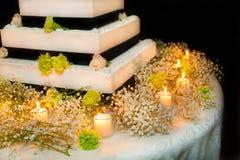 Wedding cake with roses. Black and white wedding cake Stock Photos