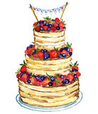 Wedding cake with berries. Hand painted watercolor illustration, wedding cake with berries Royalty Free Stock Photos
