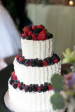 Wedding Cake with Berries and strawberries Stock Photo
