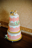 Wedding cake. Big wedding cake on ceremony Royalty Free Stock Images