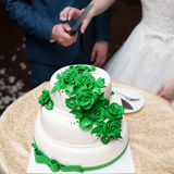 Wedding cake. Big wedding cake on ceremony Stock Photos