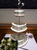 Wedding Cake and Bouquet Stock Photography