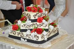 Wedding cake with red roses. Wedding cake. Bride and groom Royalty Free Stock Photos