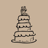 Wedding cake bride and groom cartoon Royalty Free Stock Photography