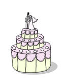 Wedding cake with bride and groom illustration. Wedding cake with bride and groom figures on top illustration; isolated wedding cake cartoon Royalty Free Stock Photo