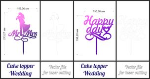 The wedding cake. Cake topper. Vector for laser stock illustration
