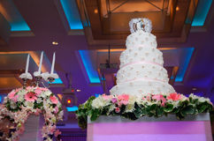 Wedding cake and candle Royalty Free Stock Images