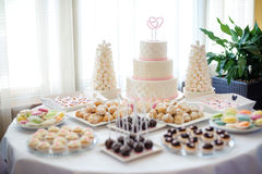 A wedding cake, candy bar. A wedding cake on the table Stock Photography
