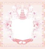 Wedding cake card design Stock Image