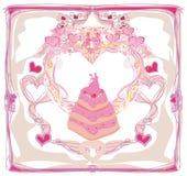 Wedding cake card design Royalty Free Stock Photos