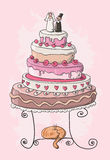 Wedding cake cartoon Stock Images