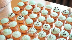 Wedding cake for celebration. Cupcakes on stand. Close up stock footage