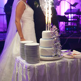 Wedding cake. Wedding ceremony. Decor trends Stock Photos