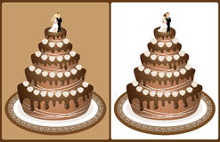 Wedding cake. Chocolate wedding cake with bride and groom on the top decorated with roses on brown background and isolated on white background Stock Photos