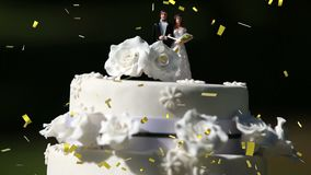 Wedding cake and confetti. Digital composite of a wedding cake placed outdoors while gold confetti fall in the screen vector illustration
