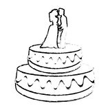 wedding cake couple dessert sketch Royalty Free Stock Photo