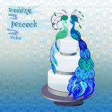Wedding cake with couple peacocks. Blue, green vector design. Stock Photography
