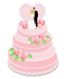 Wedding cake. With cream roses, bride and groom figures . Vector illustration stock illustration