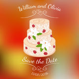 Wedding cake with cream roses over colorful blurred vector background. Wedding cake with cream red roses and white lilies over abstract colorful blurred vector Royalty Free Stock Images
