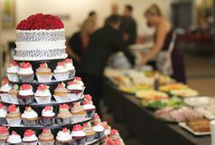 Wedding cake with cupcakes Royalty Free Stock Photography