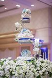 Wedding Cake decorate on three tier serving tray Royalty Free Stock Photography