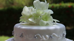 Wedding Cake Decorated with Orchid and Bead stock video footage