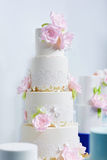 Wedding cake decorated with pink peonies Royalty Free Stock Photography
