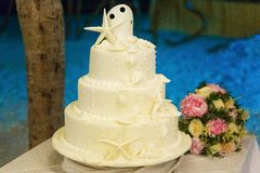 Wedding cake decorated with shells and starfish and the bride`s stock photos