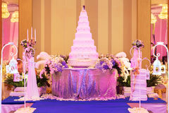 Wedding  cake and decorations on stage in wedding ceremony. - (Sh Stock Photos