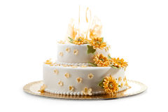 Wedding Cake. Delicious Wedding Cake Dressing with Flowers stock photography