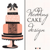Wedding cake design with lace and bow vector Royalty Free Stock Photography