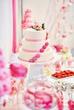 Wedding cake on a dessert table Stock Image