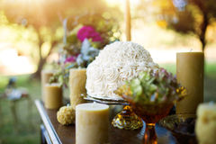 Wedding cake displayed on sideboard Royalty Free Stock Photo