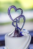 Wedding Cake with Double Heart Topper Royalty Free Stock Photos