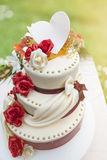 Wedding cake with edible decoration illuminated by the sunlight