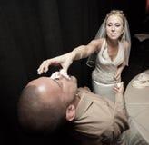 Wedding cake feeding Stock Photos