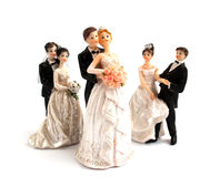 Wedding cake figurines. On a white background Royalty Free Stock Images