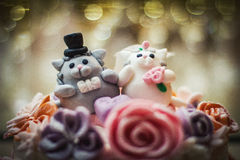 Wedding cake with figurines Royalty Free Stock Image