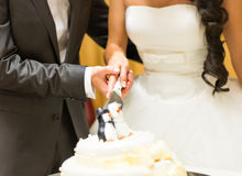 Wedding cake with figurines of penguins Royalty Free Stock Images