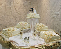 Wedding cake with figurines Stock Image