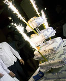 Wedding cake with fireworks Stock Photography