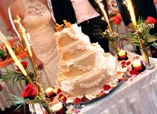 Wedding cake with fireworks Royalty Free Stock Image