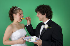 Wedding Cake First Bite. A couple with their wedding cake royalty free stock image