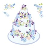Wedding cake with flower and butterfly. vector illustration