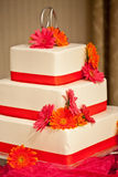 Wedding cake with flowers Stock Image