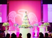 Wedding cake and flowers Stock Image
