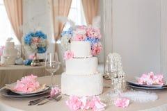 Wedding cake with flowers stock photos